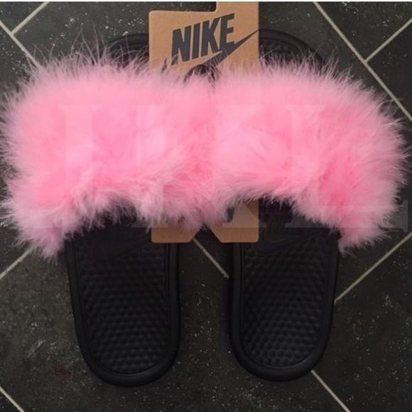 new product 8a7c7 f618b Pink Nike Fur Slides